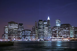 lower manhattan, new york city at night